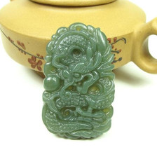 Free Shipping - Amulet Natural green jade Dragon Natural Green jadeite jade Carv - $19.99