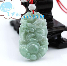 Free Shipping - Amulet auspicious jade Dragon Natural  Green jadeite jade Carved - $19.99