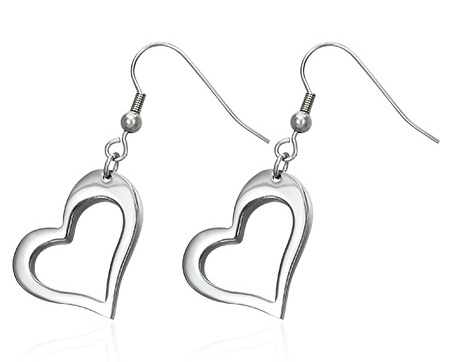 Stainless Steel Open Heart Dangle Earrings