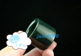 Free Shipping - Real green jadeite , HAND-CARVED Natural dark Green Round jadeit - $29.99