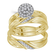 10k Yellow Gold Round Diamond Cluster His Hers Matching Trio Wedding Rin... - £462.35 GBP