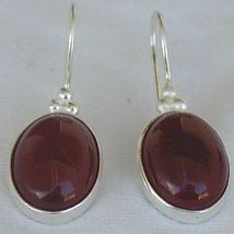 Red agate oval earrings - $28.00