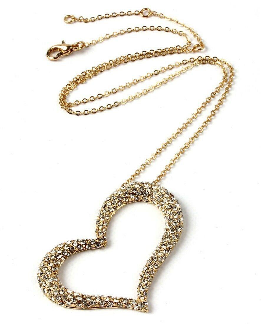 New Amrita Singh Lovely Gold Pl. Austrian Crystals Heart Shape Pendant Necklace