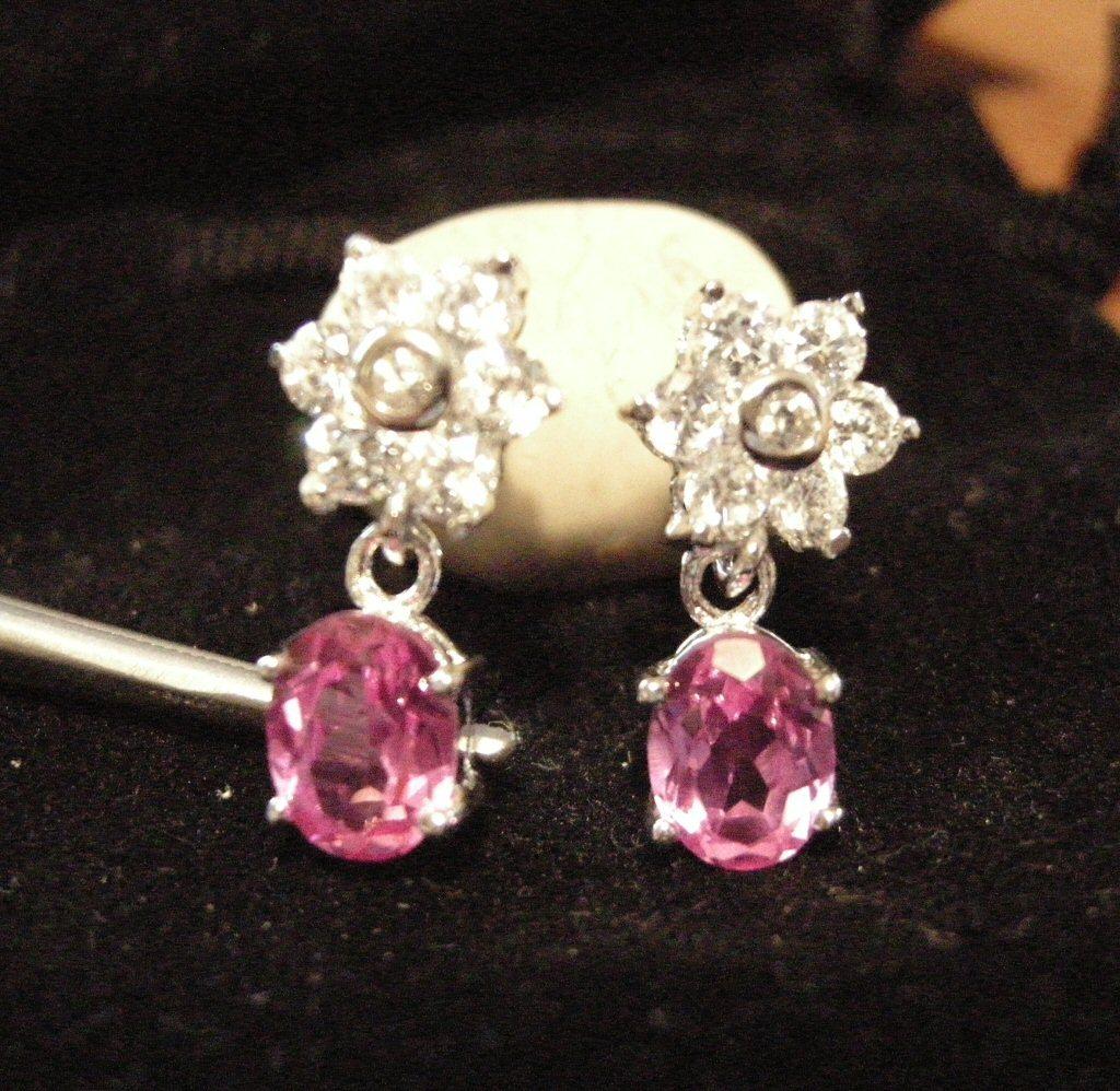 Ice Flower Pink Sapphire CZ Earrings New