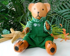 Teddy Bear Wood Toy Hand Crafted Carved Wooden Doll Sitting Movable  - $21.95