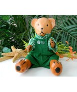 Teddy Bear Wood Toy Hand Crafted Wooden Doll Sitting Movable - $18.95