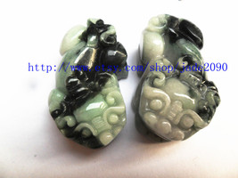 Free Shipping - good luck Natural black Green jade carved Pi Yao jadeite... - $30.00