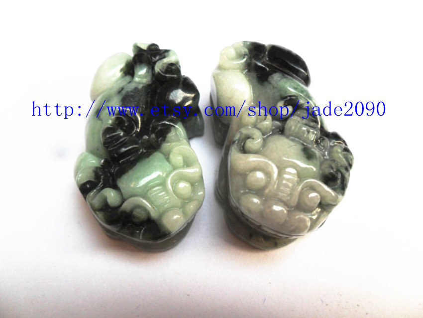 Free Shipping - good luck Natural black Green jade carved Pi Yao jadeite jade Am