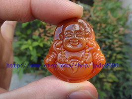 FREE SHIPPING - Natural Red  jade Happy /  happiness /  Compassion buddha charm  - $25.99