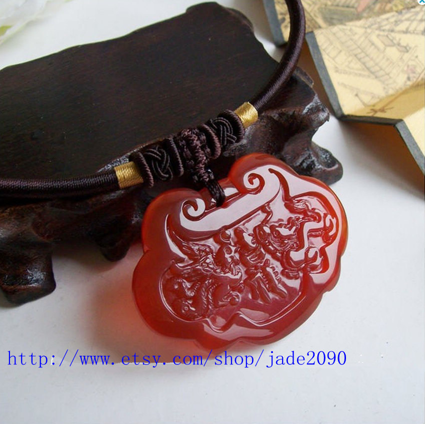 Free Shipping - good luck  Dragon and Phoenix , Natural red jade carved Dragon P image 4