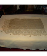 Antique Piano Scarf Runner Linen Tan Crochet Ta... - $65.00
