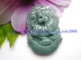 Free Shipping - Hand carved Natural Green jadeite jade carved Tiger charm jade p - $19.99