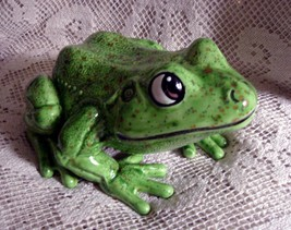 Handcrafted Ceramic Garden Frog  Lime Green - $25.00