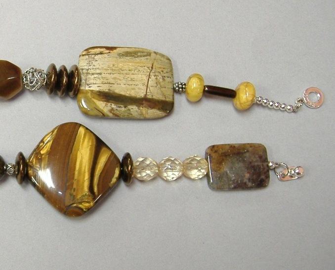 Brown Gemstone Beaded Necklace Chunky Jasper Tigers Eye