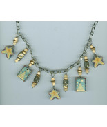 Snowmen Stars Winter Christmas Necklace Blue Costume Jewelry  - $9.59