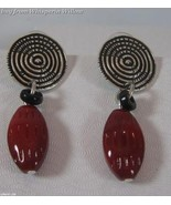 Oxidized Fashion Post Earrings with Bead Drop - $19.95