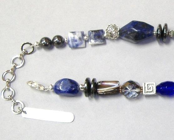 Blue Gemstone Beaded Necklace Chunky Unique Jasper Lapis