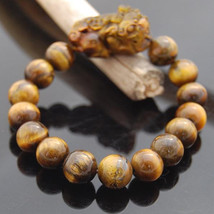 Free Shipping -  Natural Tiger eye stone PI YAO  charm  beaded Bracelet ... - $25.99