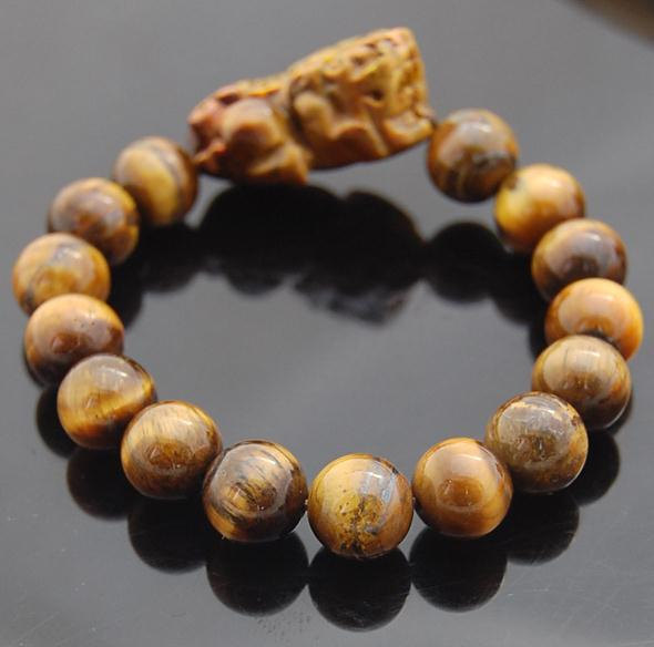 Free Shipping -  Natural Tiger eye stone PI YAO  charm  beaded Bracelet (adjusta