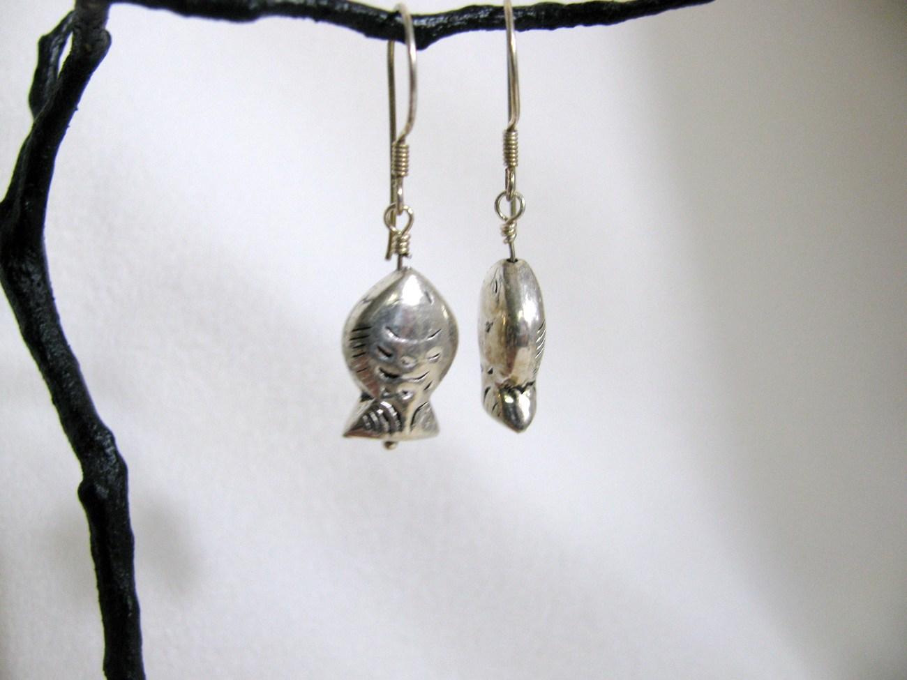 Sterling Silver Hill Tribe Fish Earrings RKS264