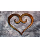 "Extra Small  3 1/2"" Ornamental Scrolled Heart /Bronze Plated Metal Wall Decor - $3.95"
