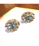 Rhinestone Screwback Earrings Diamond Aqua - $27.50
