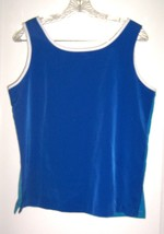 Sz S - Susan Graver Style 2-in-1 Royal Blue / Cerulean Blue Sleeveless C... - $28.49