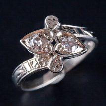 Vintage 1940's 14k White Gold Old Euro Diamond Heart Ring .41ctw 2.8g Si... - $1,370.00
