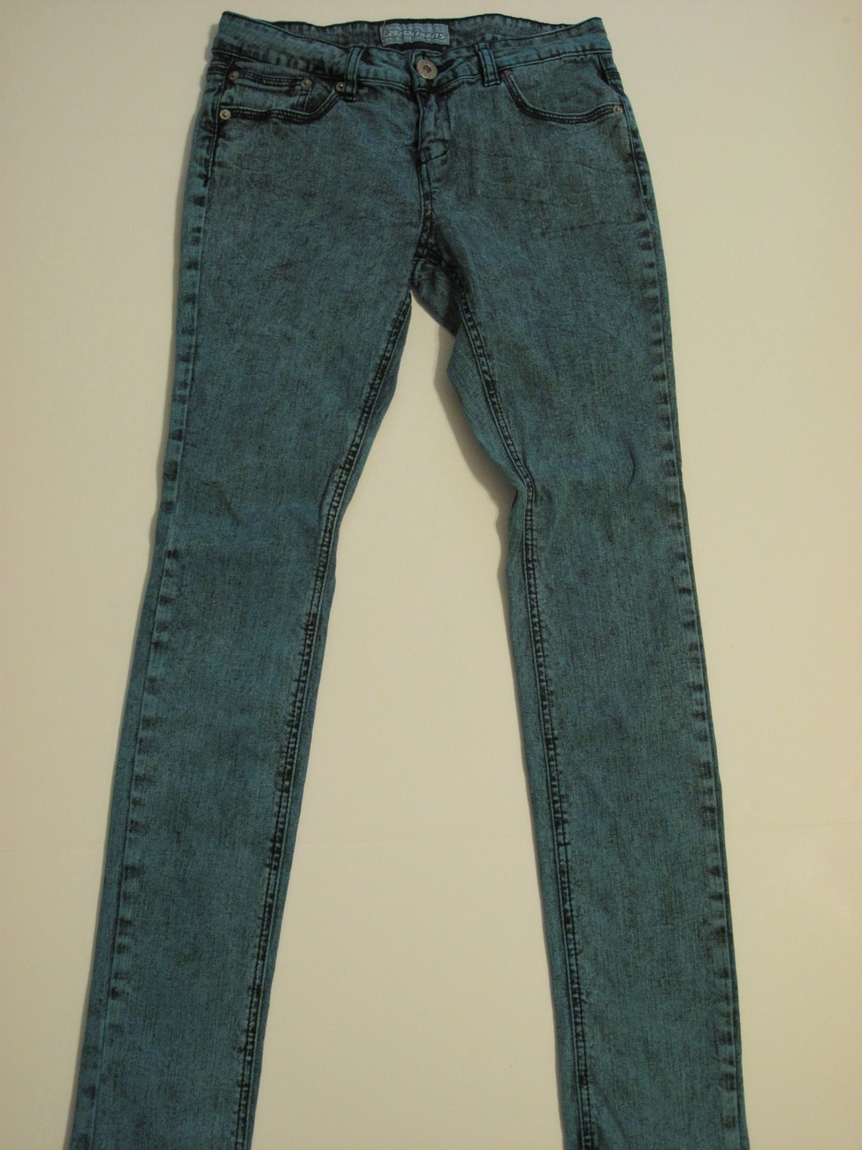 Primary image for Dark Turquoise Acid Wash Skinny Jeans, Size 7