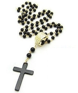 FREEBIE - Fashion Cross Necklace Black Pearl Ro... - $0.00