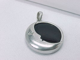 MOON MAN Vintage PENDANT with Black ONYX and DIAMOND Eye in STERLING Sil... - $62.50