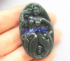 Free shipping - Hand Carving Natural  Green jadeite jade Mermaid jade Ch... - $19.99