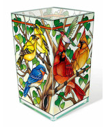 "Wild Birds CoOp AMIA Glass Vase Votive Holder 6"" High Cardinal Bluejay G... - $52.46"