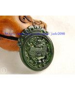 Free Shipping - Empire jade dragon pendants ,  Real black Green jade cra... - $25.99