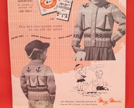Vintage Mary Maxim Knitting Patterns CHILDRENS Cardigan Sweater SAIL BOATS - $6.95