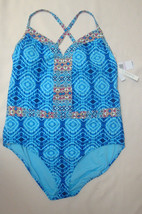 New $155 BLEU Rod Beattie Plus Size Mykonos Plunge X-Back One Piece Swimsuit 22W image 1