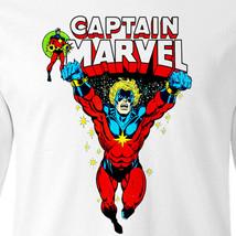 Captain Marvel Long Sleeve T-shirt retro Marvel Comics 100% cotton white tee image 2