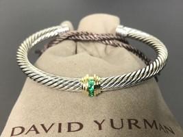 David Yurman 5mm Cable Silver 925 14k Gold Single Station Emerald Cuff B... - $399.99