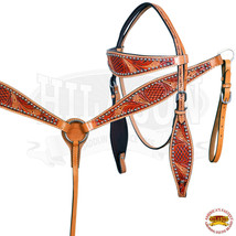 HILASON Western American Leather Horse Headstall Breastcollar Dual Tone U--SET - $109.99