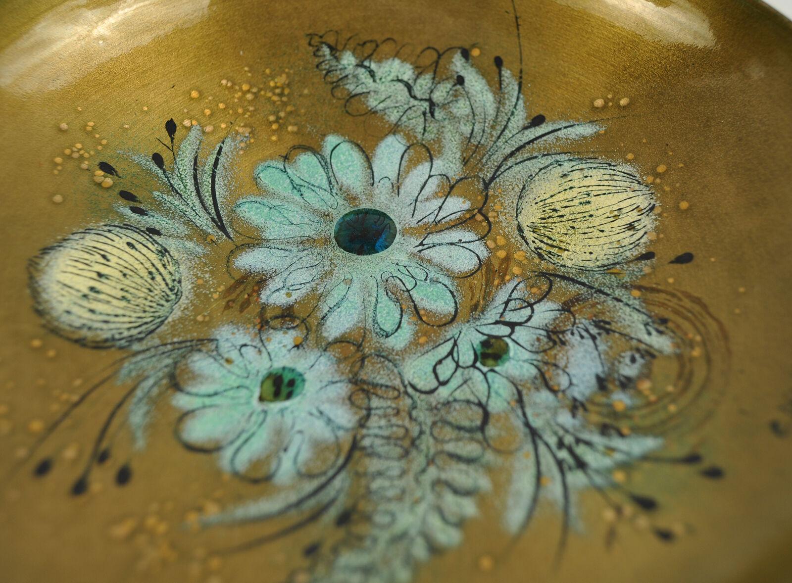 Mid Century Modern Sacha Brastoff Enameled Enamel Footed Candy Fruit Bowl