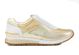 Michael Kors Women's Allie Trainer Embossed Metallic Sneakers Shoes White/Gold image 2