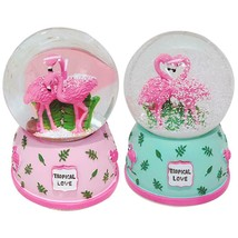 Pink Flamingo 3D Snow Crystal Ball Music Box Glass Glitter 3 X 5 Inch Sn... - $16.99