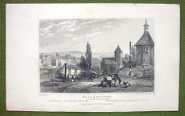GERMANY Kaiserstuhl  & Castle of Rothelen - 1840s Antique Print Engraving - $11.10