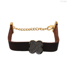 Sterling Silver Natural 0.59 Ct Diamond Pave Flower Design Leather Brace... - $186.07