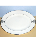 """Vera Wang by Wedgwood Imperial Scroll Oval Platter 14"""" Platinum Trim New - $168.90"""