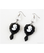 Victorian Lady Cameo Earrings in Black, Gothic Fashion, Goth Jewelry, Jf... - $14.00