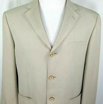 Joseph & Feiss Mens Silk Sport Coat Size 40 Short Tan 100% SIlk Wooden B... - $43.52