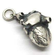 Silber Anhänger 925, Brüniert und Satiniert, Herz Realistisch Dattagliato image 1