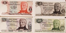 4 Notes from Banco Central de La Republica Argentina, 1,5,50, 500 uncirc... - $5.95