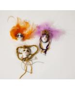 New, Mini New Orleans Mardi Gras Souvenir Porcelain Doll Magnets, Lot of 3 - $5.88